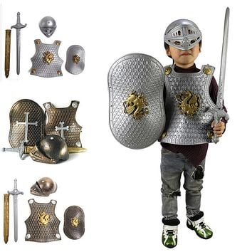 High Quality Halloween Children Kids Knight/Gladiator Dress-up Costume Armor+Shield+Sword+Helmet Warrior Cosplay Boy Play