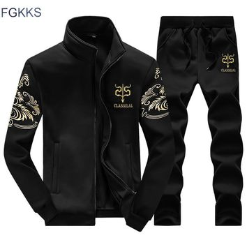 FGKKS Brand New Men Set Fashion Autumn Spring Sporting Suit Sweatshirt +Sweatpants 2 Pieces Mens Clothing Slim Male Tracksuit