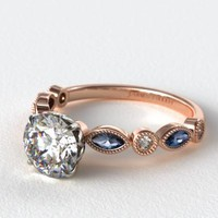 14K ROSE GOLD VINTAGE ROUND DIAMOND AND MARQUISE SAPPHIRE ENGAGEMENT RING