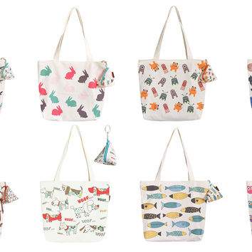 Women Cute Animals Vintage Printed White Canvas HandBags WAS_04