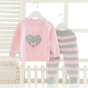 Long Sleeve Clothes Sets for Newborns Baby Girl Fashion Winter Warm Clothing Suit Cartoon Woolen Knitted Cloth Infant Boy Kids