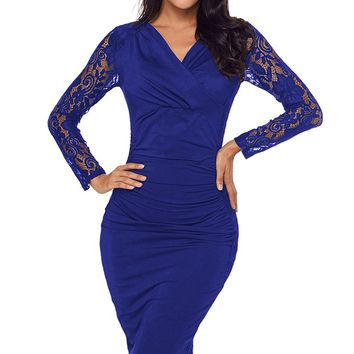 Royal Blue Floral Lace Panel Accent Ruched Sheath Dress