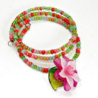 glass beads and flower cuff bracelet, bangle, memory wire, flower charm, adjustable spring bracelet pink and green bracelet