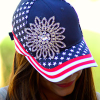 GLITZ & GLAM USA FLAG BASEBALL HAT