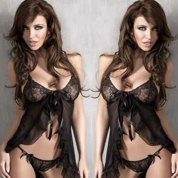 Hot Deal Sexy Cute On Sale Romantic Lace Backless Butterfly Dress Split Spaghetti Strap Set Exotic Lingerie [6596682371]