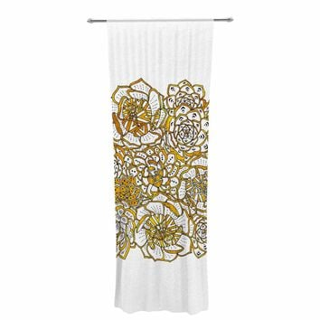 "Pom Graphic Design ""Bohemian Succulents II"" Gold White Floral Decorative Sheer Curtain"