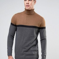 River Island Roll Neck Jumper With Block Detail In Camel at asos.com
