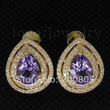 14KT Yellow Gold Fancy Vintage Purple Amethyst Natural Diamond Amethyst Earrings Pear 9x7mm