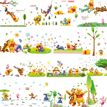 winnie the pooh removable cartoon wall stickers for kids rooms decor diy 16 patterns art decals