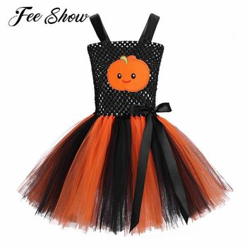 FEESHOW Kids Adjustable Straps Pumpkin Pattern Bow Knot Mesh Girls Tutu Dress Cute Girl Halloween Costume Cosplay Party Dress