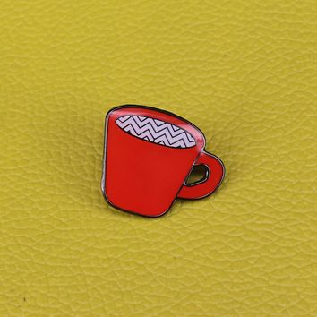 Twin peaks inspired enamel pin red coffee cup brooch coffee addict pin caffeine lover badge hostess friend gift
