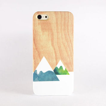 Mountain iPhone case, iPhone 5s case, iPhone 5 case, iPhone 4s case, iPhone 4 case - Green blue watercolor mountains on light wood print