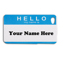 NAME TAG Case Cute Hello Tag Funny Adorable Custom Case Cover iPhone 4 iPhone 4s iPhone 5 iPhone 5s Funny Case