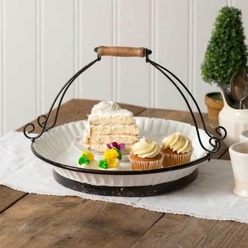 Farmhouse White Cake Tray with Handle