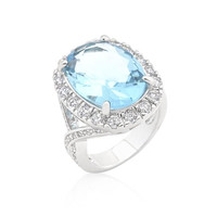 Oval Blue Topaz Cocktail Ring, size : 07