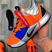 NIKE PG 3 NASA Fashionable Men Casual Sport Shoes Basketball Sneakers Orange&Blue