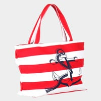 Striped Nautical Anchor Beach Rope Tote Bag - Red