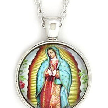 Virgin Mary Our Lady of Guadalupe Necklace Silver Tone NV26 Marian Prayer Art Dome Medal Fashion Jewelry