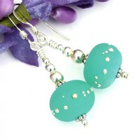 Mint Green Kryptonite Lampwork Earrings, Etched Sterling Silver Handmade Dangle Jewelry