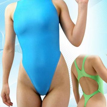 Piece swimsuit sexy narrow crotch T crotch without chest pad swimsuit show body blue piece underwear bunched tight