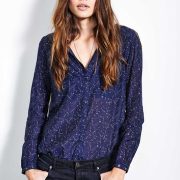 Star Print Button Shirt in Navy Blue