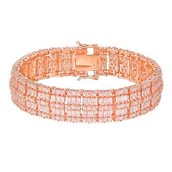 Baguette Cut Bracelet Rose Gold On 925 Silver