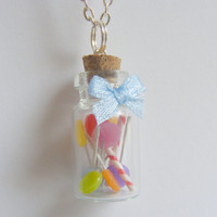 Candy Jar Bottle Lollipop Necklace Pendant  - Miniature Food Jewelry,Handmade Jewelry Pendant Necklace
