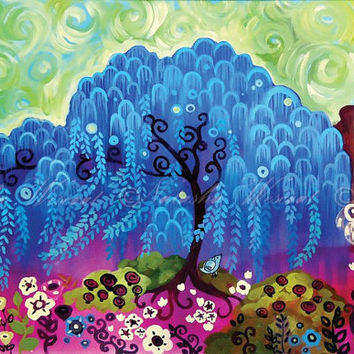 Blue Willow Folk Art TREE Print 13x19 Pop whimsical floral by Natasha Wescoat