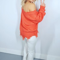 She's A Catch Sweater: Coral