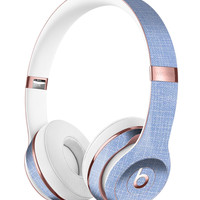 Scratched Blue Fabric Pattern Full-Body Skin Kit for the Beats by Dre Solo 3 Wireless Headphones