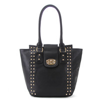 Classic Universal studded Purse Handbag Tote Bag - Black