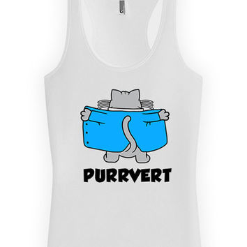 Funny Cat Tank Purrvert Funny Cat Gifts Kitten Clothing Cat Lover Gift Kitty Clothes American Apparel Racer Back Tank Top Womens Tank WT-309