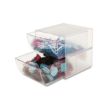 Two-Drawer Cube Organizer Clear Plastic 6 x 6