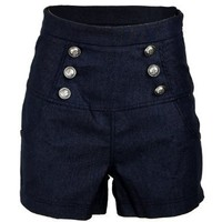 Sailor Denim Nautical Anchor Rockabilly High Waist Women's Shorts Hotpants