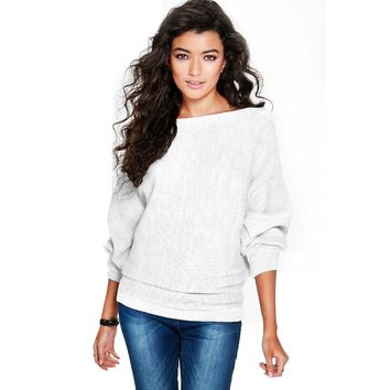 2017 New Sexy Fashion Shrug knitted Sweater Women Batwing Sleeve Knitted Pullover Loose Sweater Jumper Tops Knitwear Pull Femme