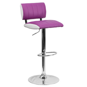 2-Tone Vinyl Adjustable Height Chrome Bace Home Office Barstools With Back 9-Colors #122150 (Purple)