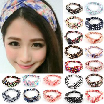 Hot Fashion New Women Girl Elastic Headwear Turban Floral Twisted Knotted Hairband Wrap Bandana Headband 20 Styles Z1