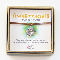 Awesomeness, You're a Hoot: Silver Owl Charm and Brown Cord Make a Wish Bracelet / Anklet in a Gift Box