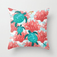 wendana Sea Turtles in The Coral - Ocean Beach Marine home decor throw pillow covers 18 x 18 for Couch