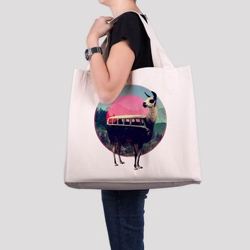 Llama Tote Bag,  Large Beach Bag, Cute Llama Printed Oversized Tote Bag