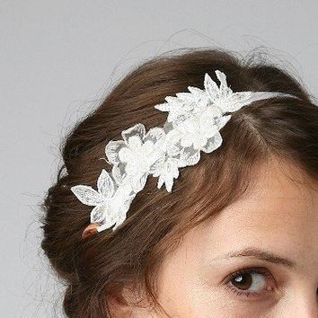 Vintage lace trim bridal headband on off white by UntamedPetals
