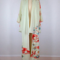 Vintage Kimono / Mint Green Silk Crepe / Pink Floral Print / Long Robe / Art Deco