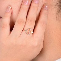 1pc europe simple moon finger ring for women anel fine jewelry gold tone simulated-pearl open joint rings