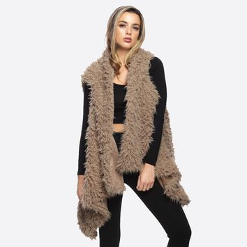 Furry Vest in Beige, Taupe and Black