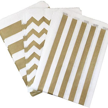 Outside the Box Papers Gold and White Chevron and Stripe Treat Sacks - Favor Bags Birthday For Wedding Baby Shower Anniversary, Pack of 48