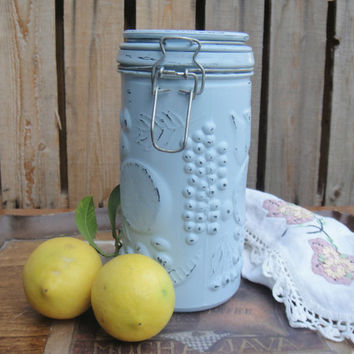 Light Blue & Canning Jar Up cycled - Chalk Paint - Shabby Chic - Wedding - Upcycled - Distressed - Beach Decor - Wire Bail Closure