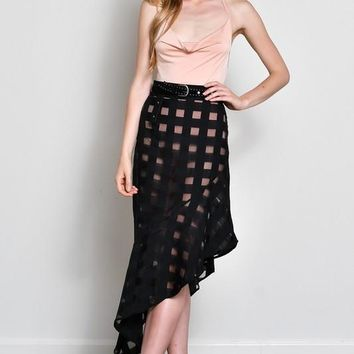 Plaid Jiaquard Asymmetrical Skirt