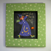 Folk Art Witch Tole Painted and Framed in Green