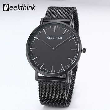 GEEKTHINK Top Brand Luxury Quartz watch men Black Japan quartz-watch Business stainless steel Mesh strap ultra thin clock male