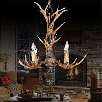 Europe Country 4 Heads Brown Dining Room Antler Chandeliers Lights Pendant Lamps Ceiling Fixtures Lighting, E14 110-240V